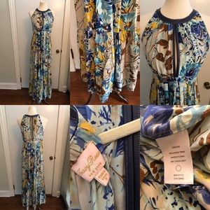 Tracy Reese silk maxi with leather detail size 6